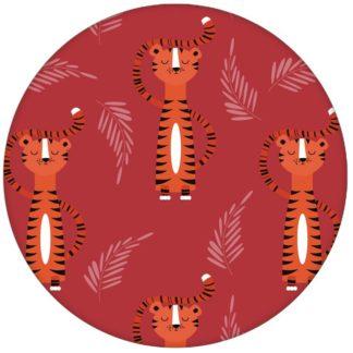 """""""Die Sieger Tiger"""" - motivierende Kindertapete mit lustigen Tigern auf rot Vliestapete Jugendzimmer"""