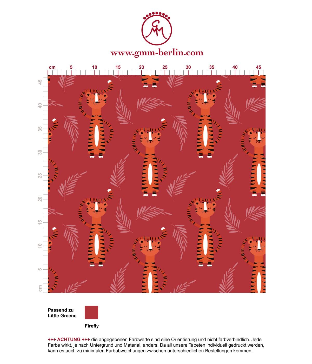 """""""Die Sieger Tiger"""" - motivierende Kinder Jugend Tapete mit lustigen Tigern auf rot angepasst an Little Greene Wandfarben. Aus dem GMM-BERLIN.com Sortiment: Schöne Tapeten in der Farbe: Orange"""