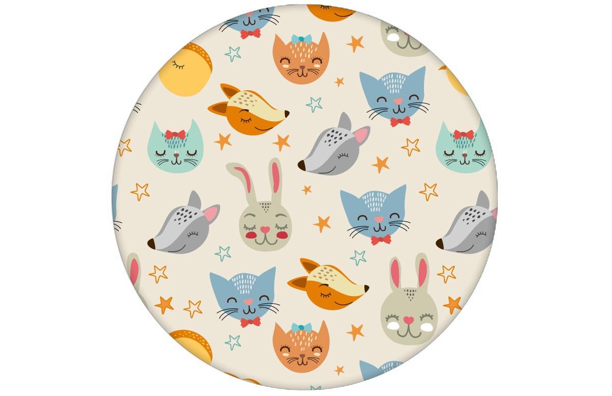 """""""Space Animals"""" - Coole Kindertapete mit Katzen, Hasen, Hunden und Sternen Vliestapete Jugendzimmer"""