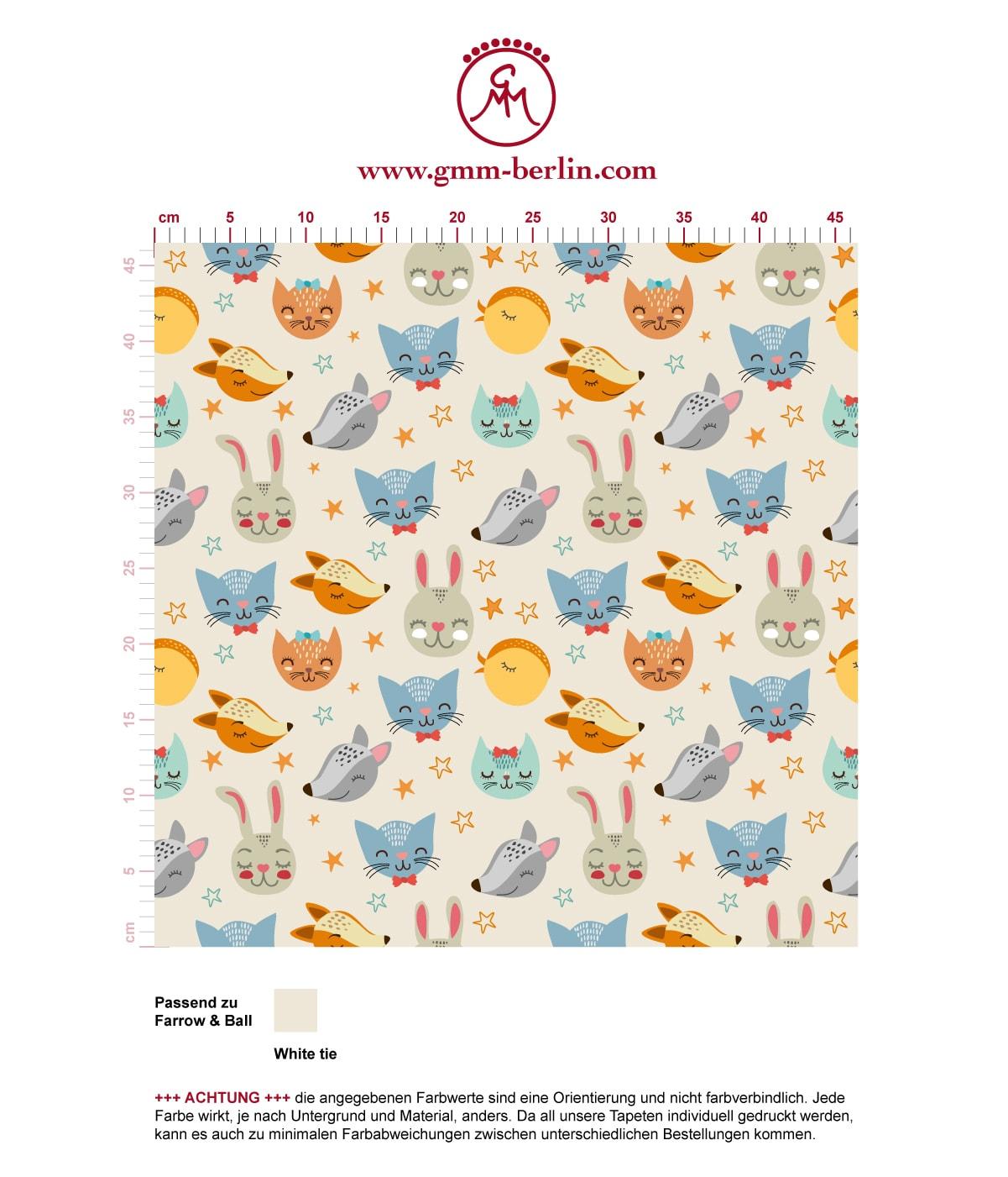"""""""Space Animals"""" - Coole Kinder Jugend Tapete mit Katzen, Hasen, Hunden und Sternen auf weiß angepasst an Farrow and Ball Wandfarben- Vliestapete Tiere  3"""