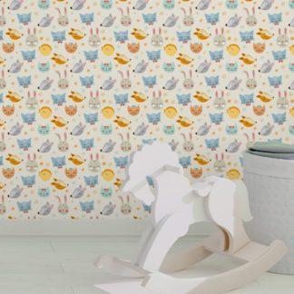 """Jugend Tapete creme: """"Space Animals"""" - Coole Kinder Jugend Tapete mit Katzen, Hasen, Hunden und Sternen auf weiß angepasst an Farrow and Ball Wandfarben- Vliestapete Tiere"""