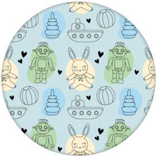 """Kinderzimmer Jugend Tapete """"Toy Zone"""" mit lustigem Spielzeug und Robotern auf hellblau Vliestapete Baby aus den Tapeten Neuheiten Exklusive Tapete für schönes Wohnen als Naturaltouch Luxus Vliestapete oder Basic Vliestapete"""