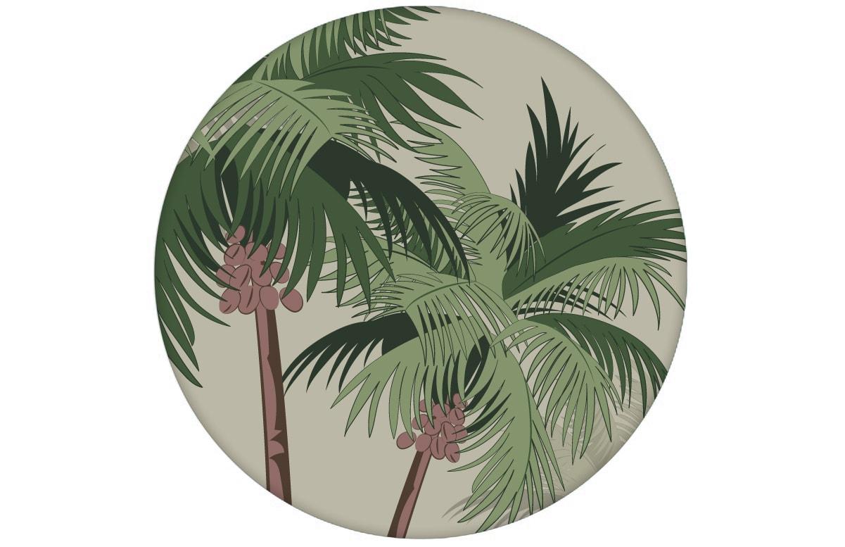 """Sommer, Sonne, Strand Design Tapete """"im Palmenhain"""" mit großen Palmen auf grau Vliestapete Wohnzimmer aus den Tapeten Neuheiten Blumentapeten und Borten als Naturaltouch Luxus Vliestapete oder Basic Vliestapete"""