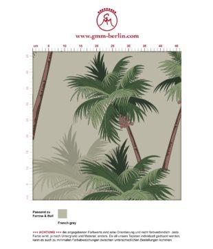 """Sommer, Sonne, Strand Tapete """"im Palmenhain"""" mit großen Palmen auf grau angepasst an Farrow and Ball Wandfarben- Vliestapete Natur, Blumen"""