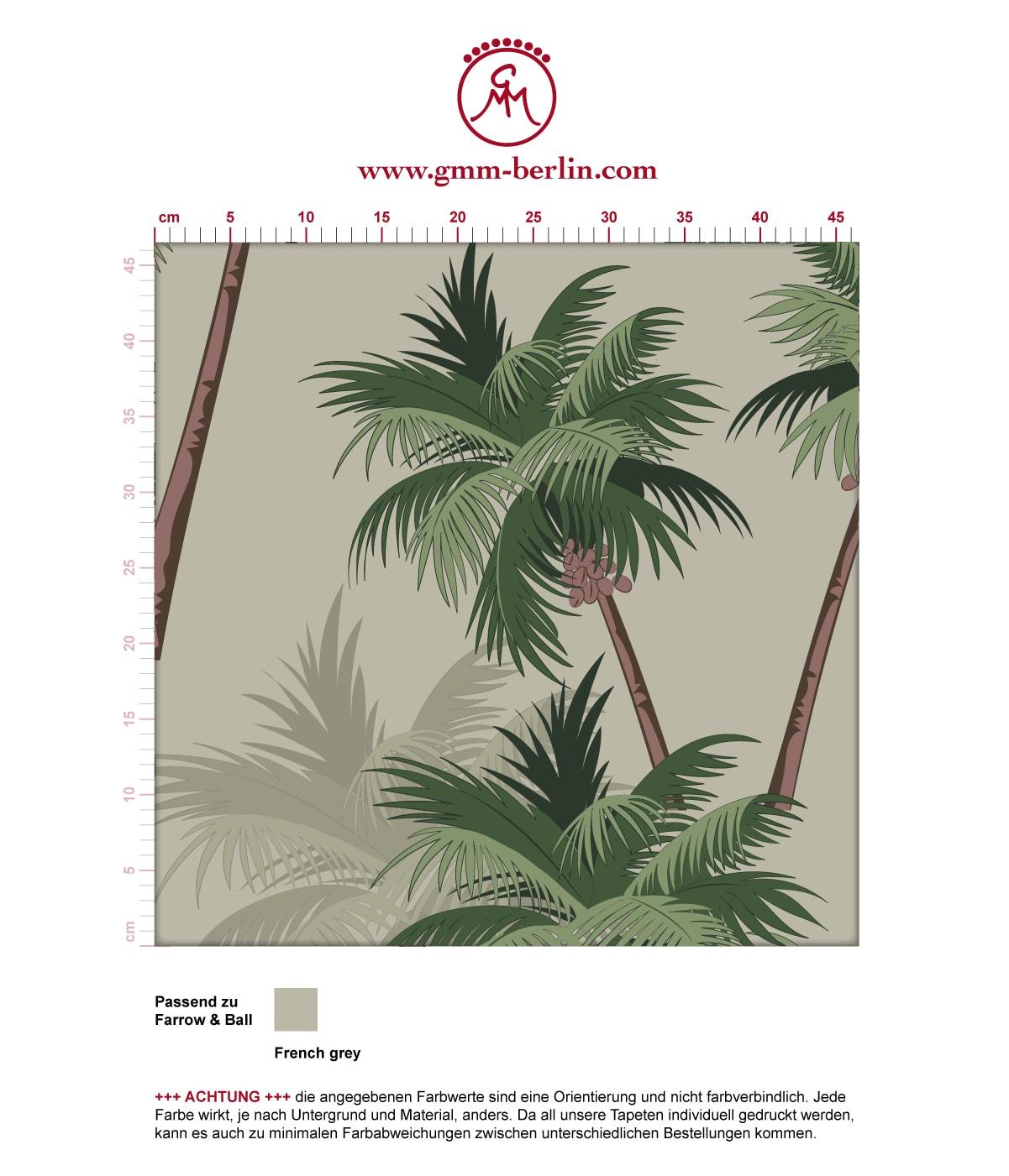"""Sommer, Sonne, Strand Tapete """"im Palmenhain"""" mit großen Palmen auf grau angepasst an Farrow and Ball Wandfarben. Aus dem GMM-BERLIN.com Sortiment: Schöne Tapeten in creme Farbe"""