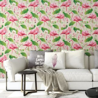"""Wandtapete creme: Exotische Tapete """"Flamingo Pool"""" mit Seerosen im extravaganten Look auf weiß angepasst an Farrow and Ball Wandfarben- Vliestapete Tiere, Blumen"""