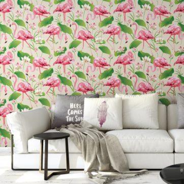 """Exotische Tapete """"Flamingo Pool"""" mit Seerosen im extravaganten Look auf weiß angepasst an Farrow and Ball Wandfarben- Vliestapete Tiere, Blumen"""