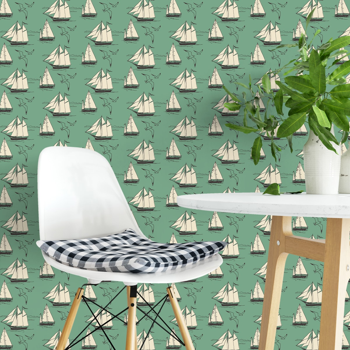 Wandtapete grün: Segler Tapete