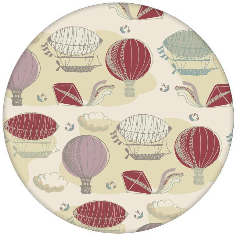 """Nostalgie Design Tapete """"Luftschlösser"""" mit Drachen, Heißluftballons und Wolken zum Träumen in rot Vliestapete für Schlafzimmer"""