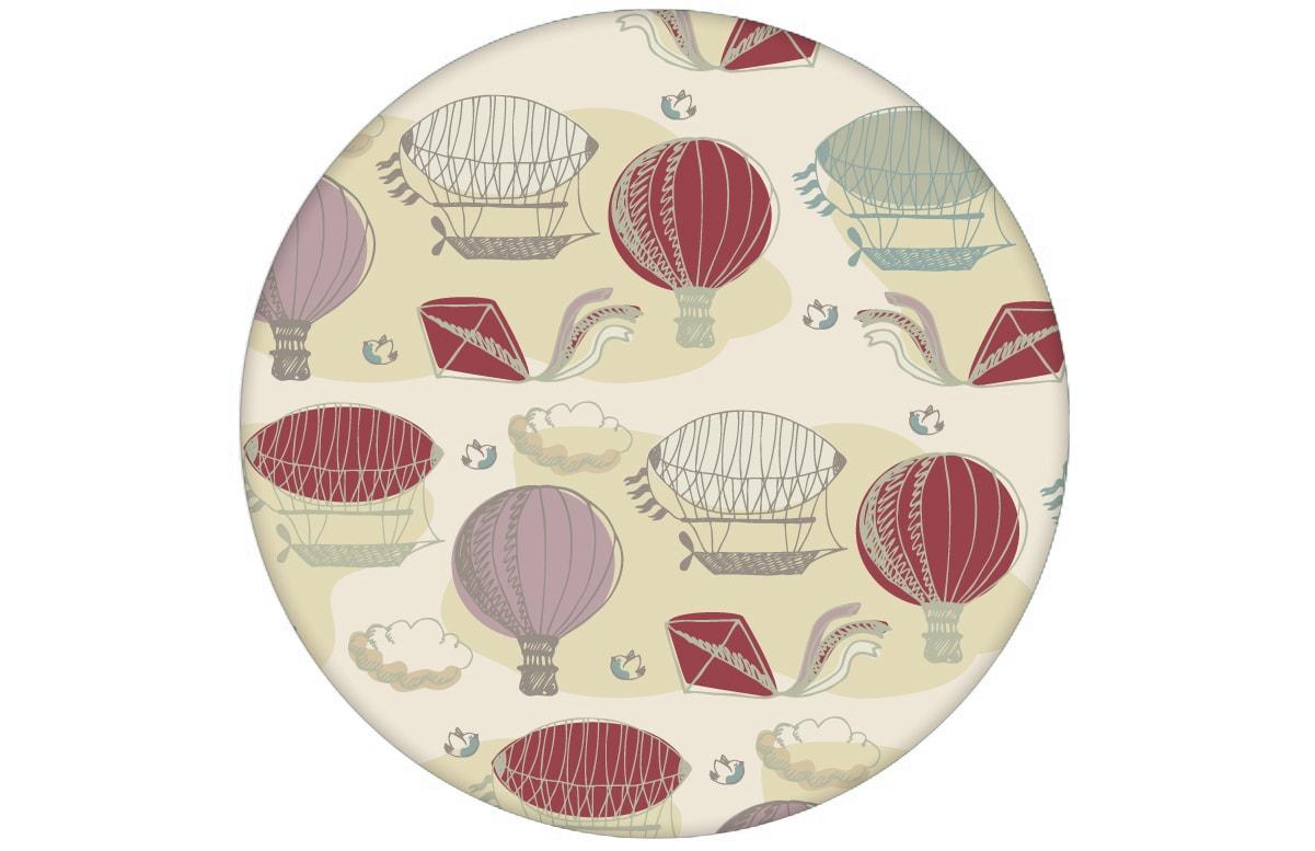 """Nostalgische Tapete """"Luftschlösser"""" mit Drachen, Heißluftballons und Wolken zum Träumen in rot angepasst an Farrow and Ball Wandfarben- Vliestapete Figuren"""