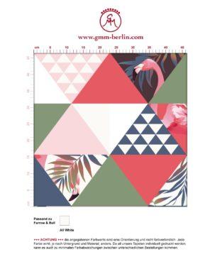"""Moderne, exotische Tapete """"Flamingo Puzzle"""" mit grafischen Dreiecken in grün angepasst an Farrow and Ball Wandfarben- Vliestapete Grafisch"""