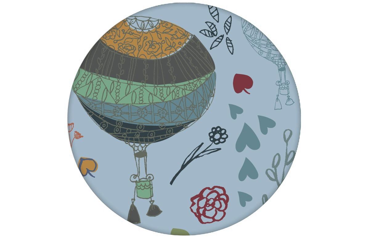 "Nostalgische Tapete ""Im Traumland"" mit Heißluftballons in hellblau angepasst an Farrow and Ball Wandfarben- Vliestapete Figuren"