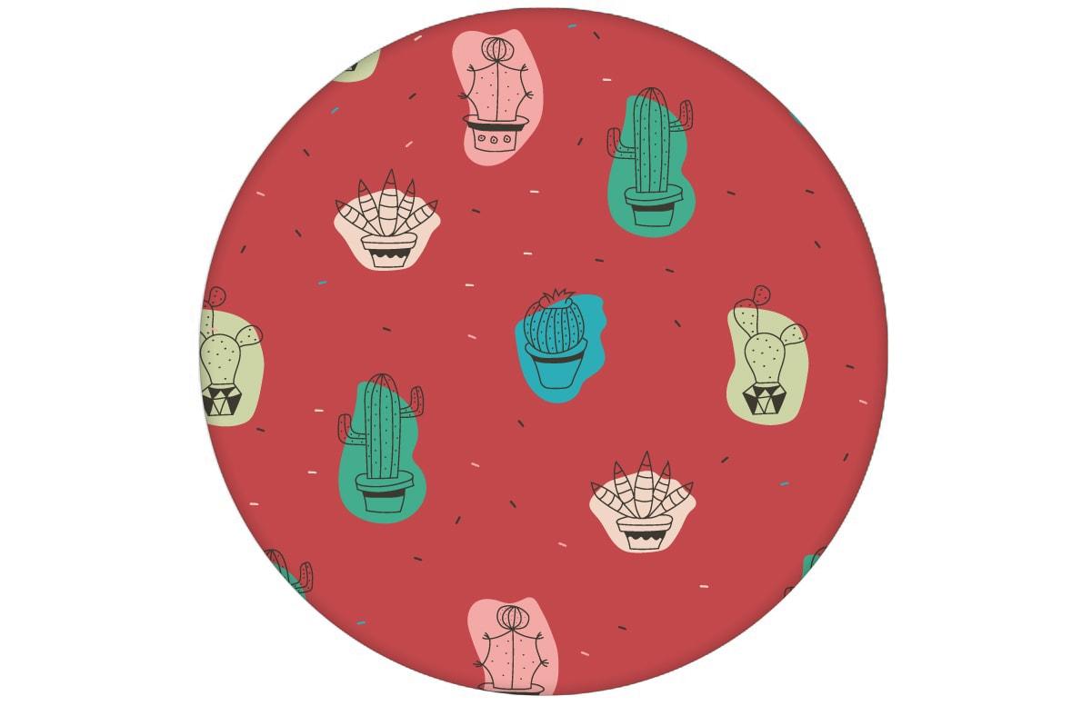 """Coole Design Tapete """"Wüstenzauber"""" mit bunten Kakteen auf rot Vliestapete Kaktus - Moderne Wandgestaltung"""