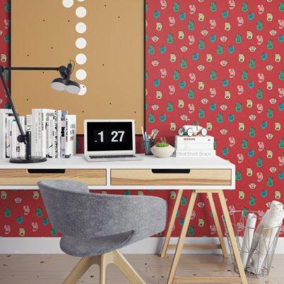 """Designer Tapete """"Wüstenzauber"""" mit bunten Kakteen auf rot angepasst an Little Greene Wandfarben- Vliestapete Blumen - Moderne Zimmer Wanddeko - GMM Design Tapete - Wandtapete - Wand Dekoration für edle Wohnakzente (Muster 20 x 46,5cm)"""