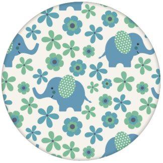 """Kinder Babytapete """"Elephant Power"""" mit Blumen und Elefanten im 70er Jahre Stil in blau Vliestapete Babyzimmer"""
