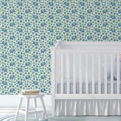 """Kinder Baby Tapete """"Elephant Power"""" mit Blumen und Elefanten im 70er Jahre Stil in blau angepasst an Farrow and Ball Wandfarben- Vliestapete Tiere"""