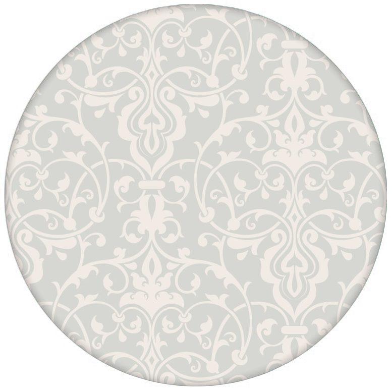 Üppige Tapete mit klassischem Damast Muster auf weiß für Küche oder Wohnzimmer
