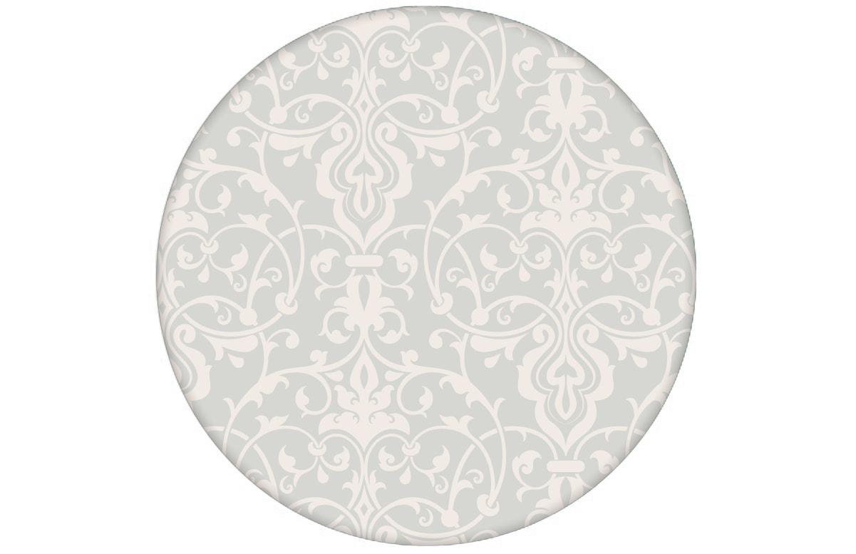 Üppige Tapete mit klassischem Damast Muster auf weiß angepasst an Little Greene Wandfarben- Vliestapete Ornamente