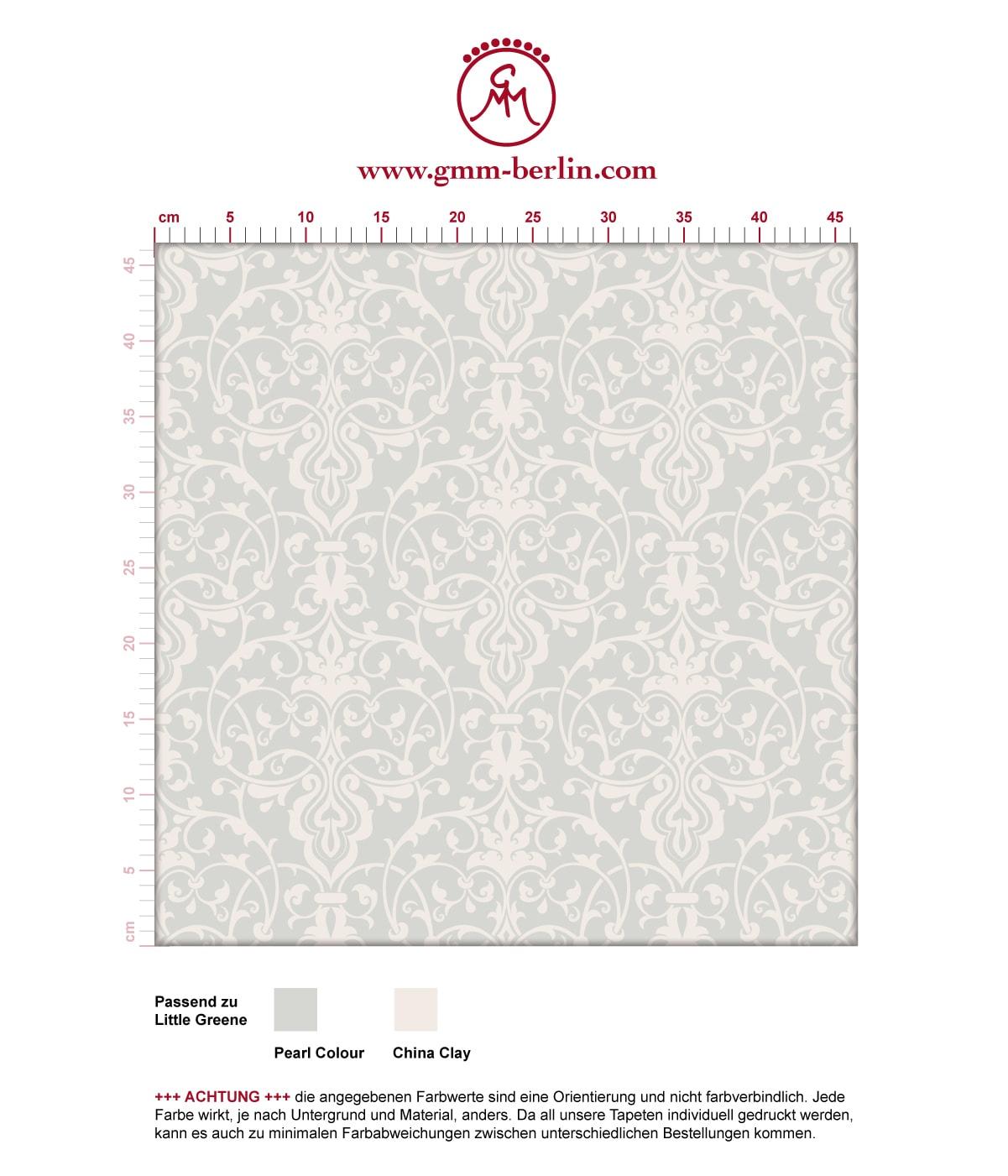 Üppige Tapete mit klassischem Damast Muster auf weiß angepasst an Little Greene Wandfarben. Aus dem GMM-BERLIN.com Sortiment: Schöne Tapeten in weiss