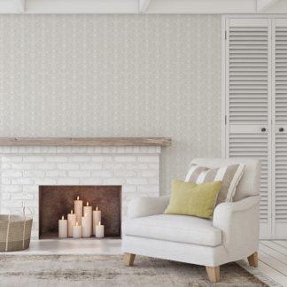 Wandtapete weiss: Üppige Tapete mit klassischem Damast Muster auf weiß angepasst an Little Greene Wandfarben- Vliestapete Ornamente
