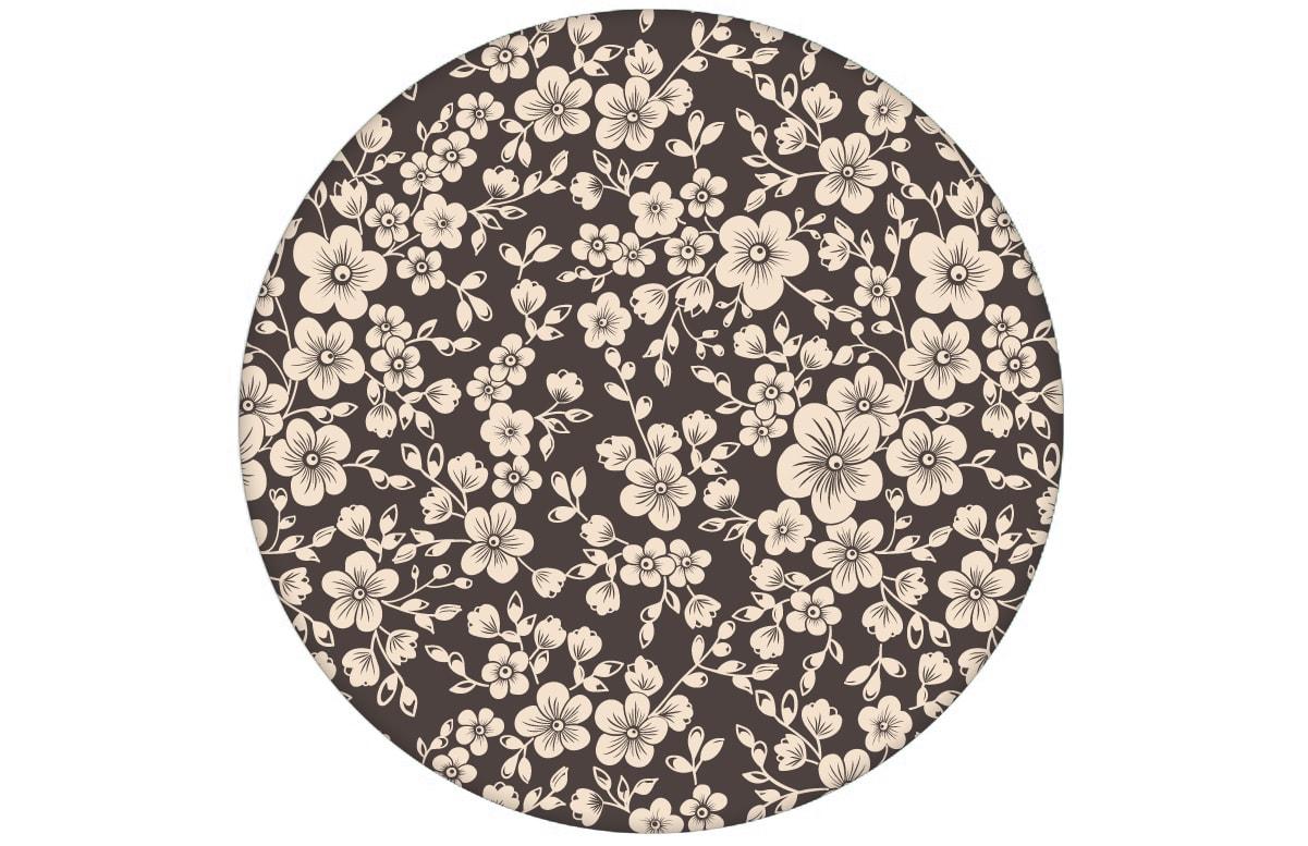 """""""Spring in Japan"""" – Zauberhafte florale Tapete mit Kirsch Blüten auf braun angepasst an Little Greene Wandfarben- Vliestapete Blumen"""