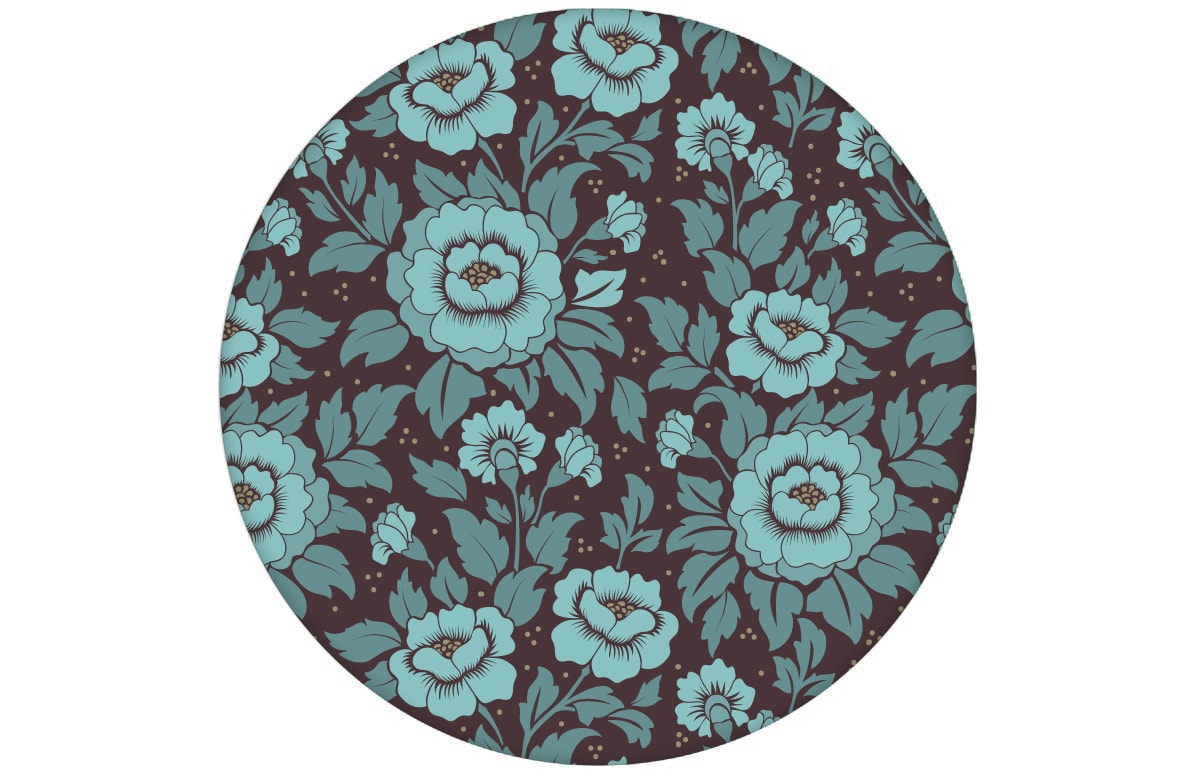 "Florale Tapete ""Mein Rosengarten"" mit edlen Rosen Blüten in blau angepasst an Farrow and Ball Wandfarben- Vliestapete Blumen"