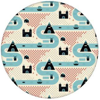 """Moderne Trend Design Tapete """"Weltenbummler"""" mit Strassen, Burgen und Pyramiden auf gelb für Wohnküche aus den Tapeten Neuheiten Exklusive Tapete für schönes Wohnen als Naturaltouch Luxus Vliestapete oder Basic Vliestapete"""