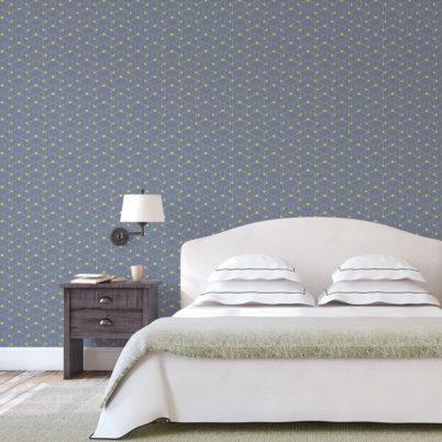 """Moderne grafische Tapete """"Celestial Dots"""" kleines Muster in lila grün angepasst an Farrow and Ball Wandfarben - Vliestapete Grafisch"""