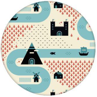 """Trend Design Tapete """"Weltenbummler"""" großes Muster mit Strassen, Burgen und Pyramiden auf gelb Vliestapete für Wohnküche"""