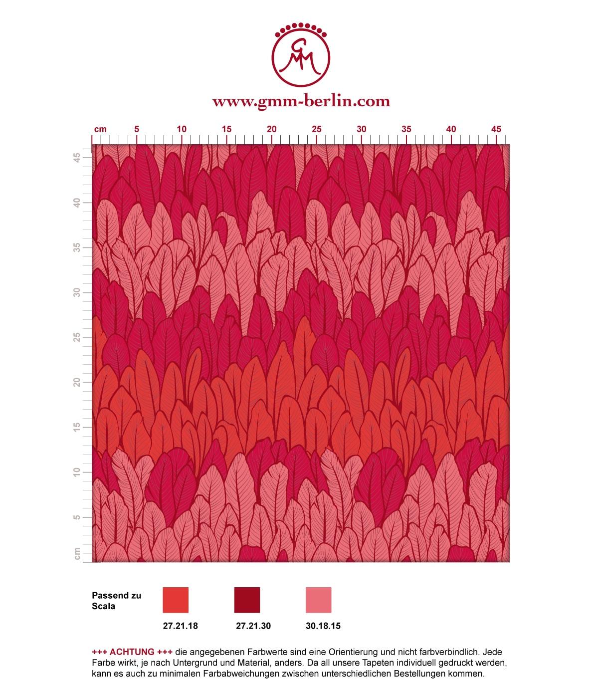 Elegante Streifentapete mit Federn in rot Tönen angepasst an Scala Wandfarben - Vlies Tapete Streifen 3