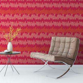 Elegante Streifentapete mit Federn in rot Tönen angepasst an Scala Wandfarben - Vlies Tapete Streifen