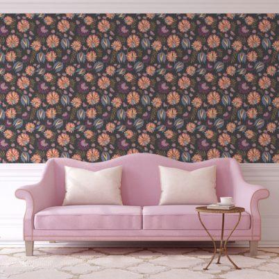 grau rosa florale Tapete mit großen Blüten angepasst an Little Greene Wandfarbe - Vliestapete Blumen