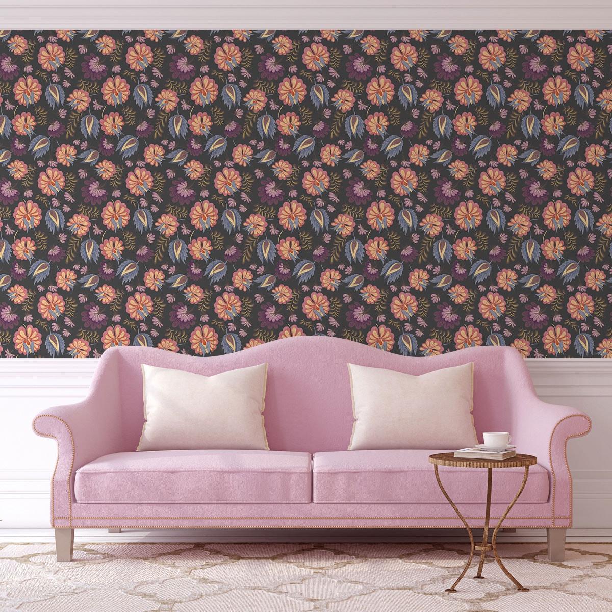 Wandtapete rosa: grau rosa florale Tapete mit großen Blüten angepasst an Little Greene Wandfarbe - Vliestapete Blumen
