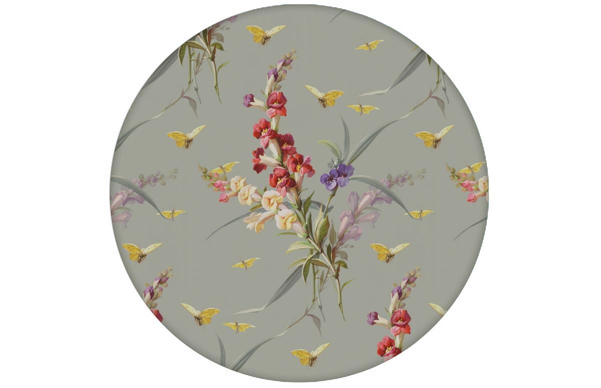 """Vintage Blüten Tapete """"Blissful Spring"""" mit Schmetterlingen auf grau Vliestapete Blumen für Schlafzimmer"""