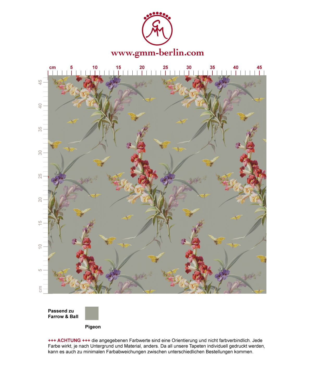 "Vintage Blüten Tapete ""Blissful Spring"" mit Schmetterlingen auf grau angepasst an Farrow and Ball Wandfarben- Vliestapete Blumen 3"