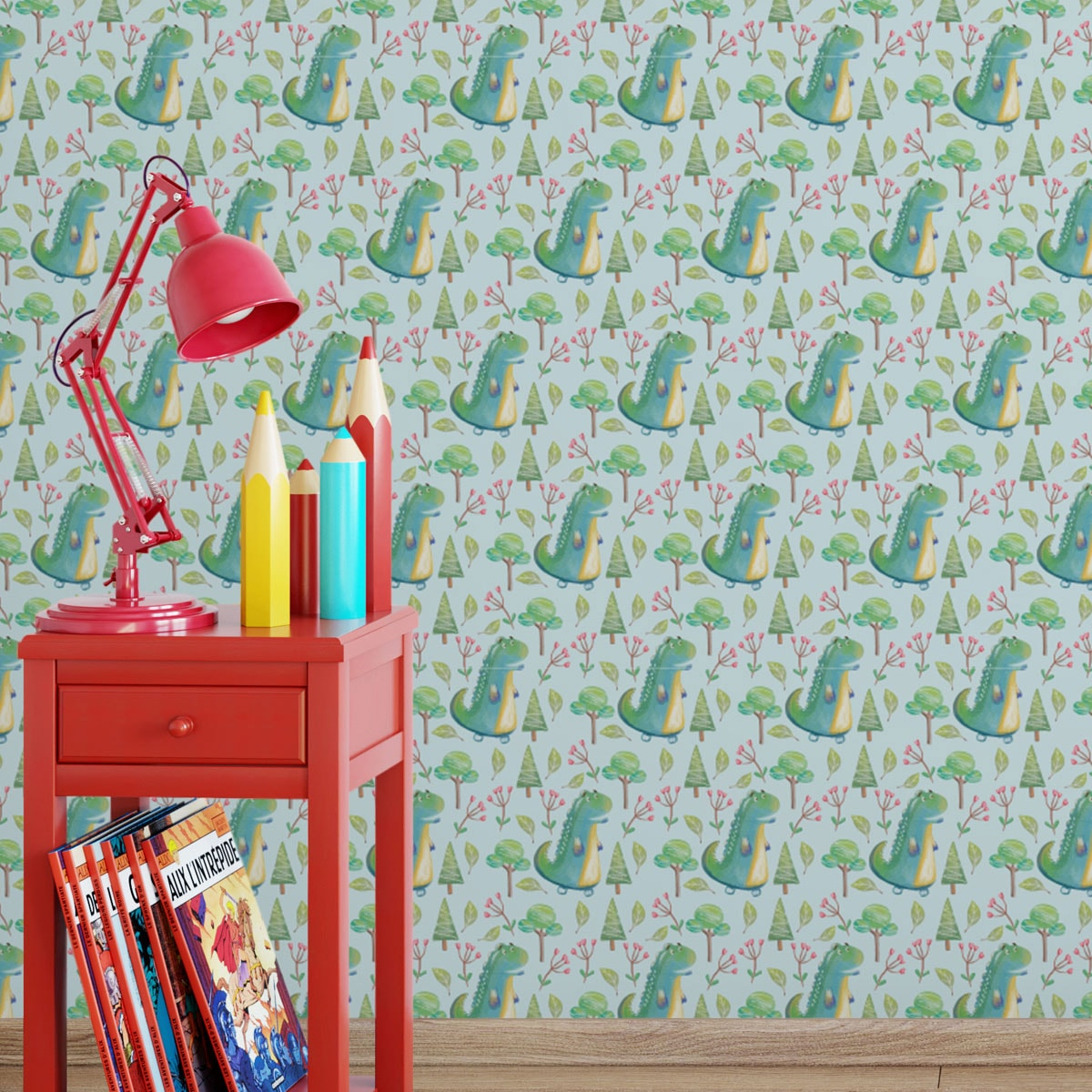 Kinderzimmer Tapete mit kleinen Drachen im Zauberwald auf hellblau angepasst an Little Greene Wandfarben- Vliestapete Figuren