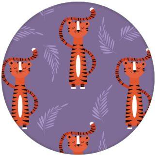 Kindertapete mit lustigem Sieger Tiger auf lila Vliestapete Tiere Jugendzimmer