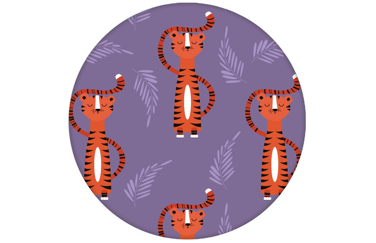 Kindertapete mit lustigem Sieger Tiger auf lila Vliestapete Tiere Jugendzimmeraus dem GMM-BERLIN.com Sortiment: orange Tapete zur Raumgestaltung: #lila #Scala für individuelles Interiordesign