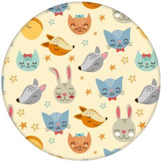 """Coole Jugend Kinderzimmer Tapete """"Space Animals"""" mit Katzen, Hasen, Hunden und Sternen auf gelb Vliestapete Wandgestaltung"""