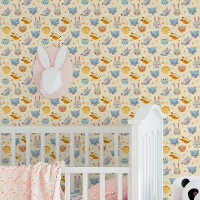 """Coole Kinder Jugend Tapete """"Space Animals"""" mit Katzen, Hasen, Hunden und Sternen auf gelb angepasst an Schöner Wohnen Wandfarben- Vliestapete Tiere"""