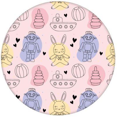 """Coole Jugend Kindertapete """"Toy Zone"""" mit lustigem Spielzeug und Robotern auf rosa Vliestapete fürs Kinderzimmeraus dem GMM-BERLIN.com Sortiment: rosa Tapete zur Raumgestaltung: #hase #Little Greene #rosa #spielzeug #tapete #tiere für individuelles Interiordesign"""