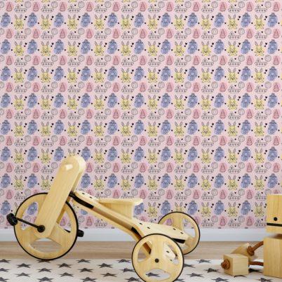 """Coole Kinder Jugend Tapete """"Toy Zone"""" mit lustigem Spielzeug und Robotern auf rosa angepasst an Little Greene Wandfarben- Vliestapete Tiere"""