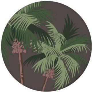 """Üppige Strand Tapete """"im Palmenhain"""" mit großen Palmen auf braun Vliestapete für Wohnzimmeraus dem GMM-BERLIN.com Sortiment: braune Tapete zur Raumgestaltung: #FarrowandBall #Meer #Reise #sommer #Strand #Südsee #Trend für individuelles Interiordesign"""