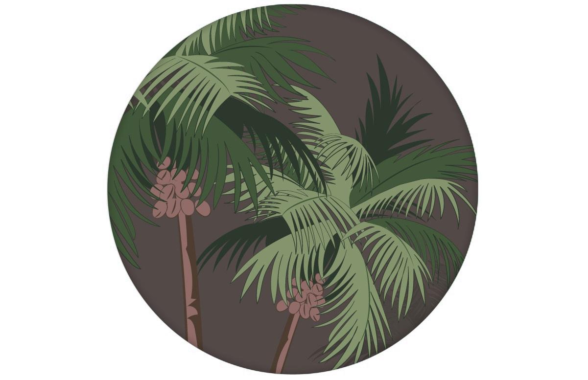 """Üppige Strand Tapete """"im Palmenhain"""" mit großen Palmen auf braun angepasst an Farrow and Ball Wandfarben- Vliestapete Natur, Blumen"""