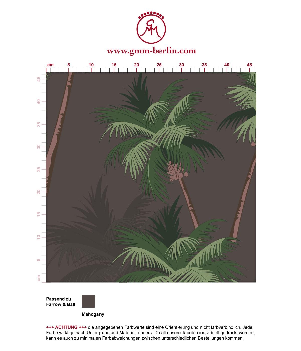"""Üppige Strand Tapete """"im Palmenhain"""" mit großen Palmen auf braun angepasst an Farrow and Ball Wandfarben- Vliestapete Natur, Blumen  3"""