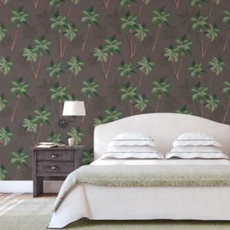 "Wandtapete dunkel braun: Üppige Strand Tapete ""im Palmenhain"" mit großen Palmen auf braun angepasst an Farrow and Ball Wandfarben- Vliestapete Natur, Blumen"