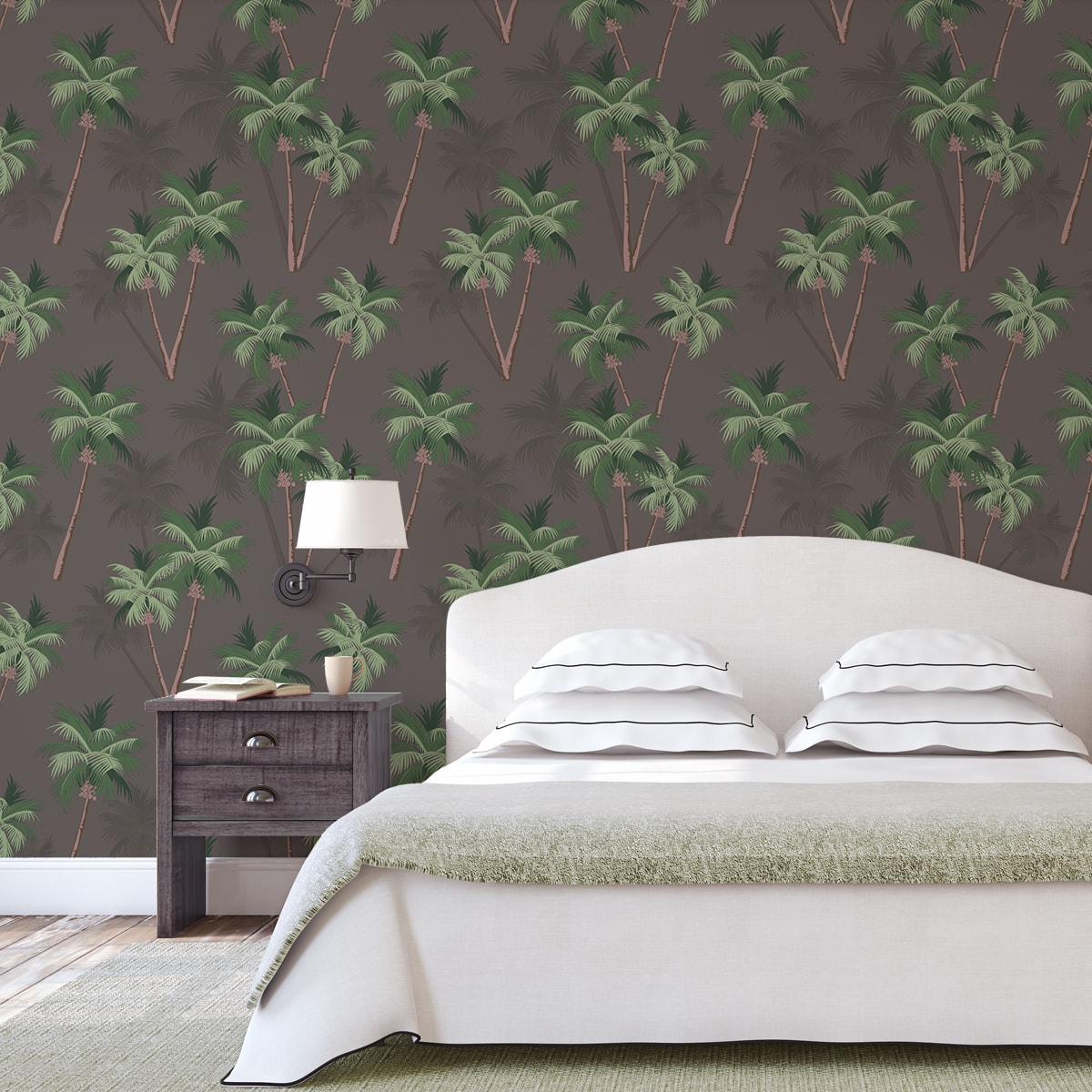 """Üppige Strand Tapete """"im Palmenhain"""" mit großen Palmen auf braun angepasst an Farrow and Ball Wandfarben- Vliestapete Natur, Blumen  2"""