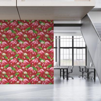 """Wandtapete rot: Extravagante, exotische Tapete """"Flamingo Pool"""" mit Seerosen auf rot angepasst an Little Greene Wandfarben- Vliestapete Tiere, Blumen"""