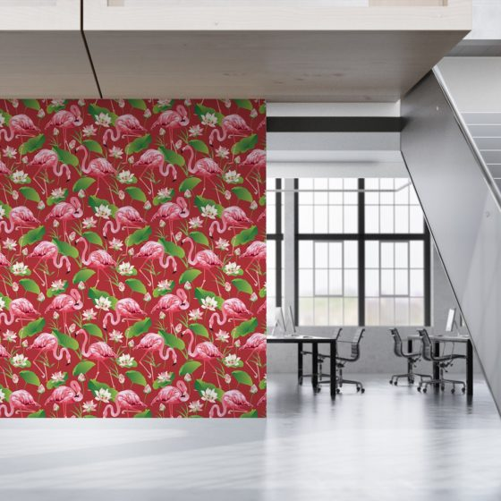 """Extravagante, exotische Tapete """"Flamingo Pool"""" mit Seerosen auf rot angepasst an Little Greene Wandfarben- Vliestapete Tiere, Blumen"""