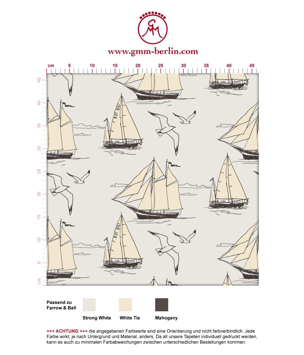 """Auf weiß - Segler Tapete """"Die Regatta"""" mit Segelbooten und Möwen angepasst an Farrow and Ball Wandfarben- Vliestapete Tiere, Kinder  3"""